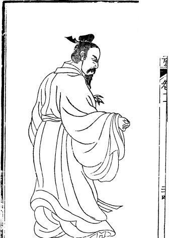 古代人物白描图-有胡须的男子的背影