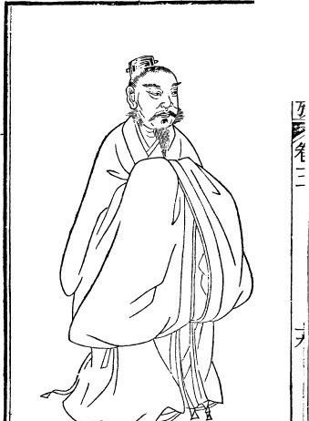古代人物白描图-拱着双手的男子矢量图图片
