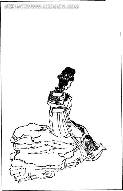 女子 坐着 石头 背影 中国风 中国古典 艺术 黑白 绘画 书画 矢量素材