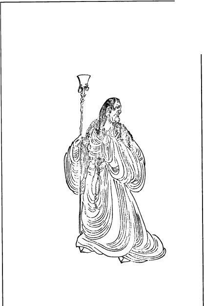 古代人物白描图谱-拿着武器转头看的人物