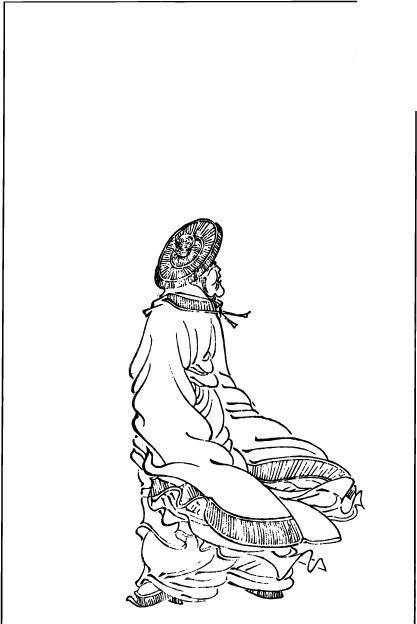 古代人物白描图-戴着斗笠的男子的背影矢量图图片