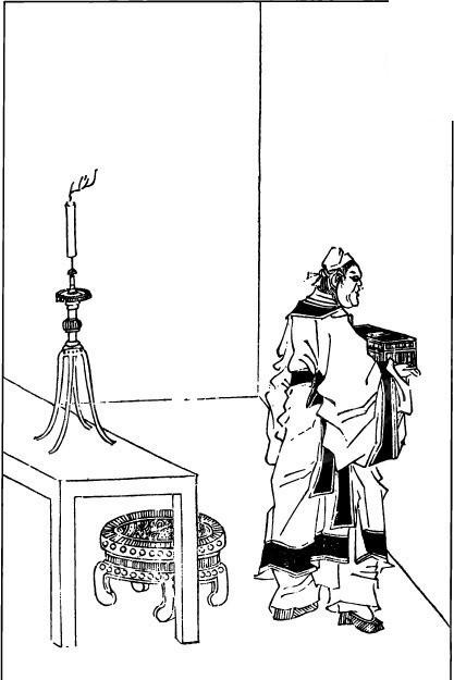 古代人物白描图谱-拿着某物的男子的背影