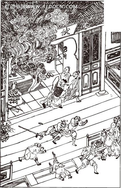房屋 许多人物 男子 云纹 中国风 中国古典 艺术 黑白 绘画 书画 矢量