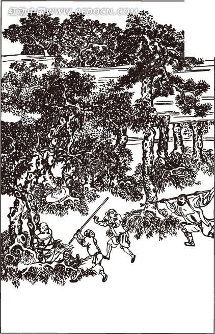 古代人物白描图-树下的追逐的人物