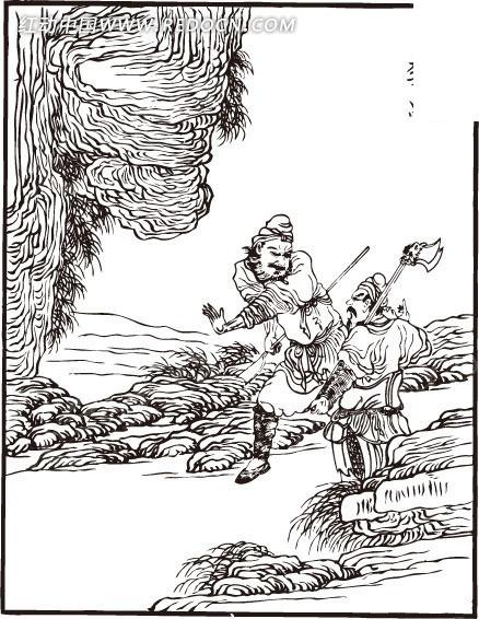 陶宗旺 李忠 梁山好汉 水浒传人物 四大名著 插画 手绘 线描 人物素材