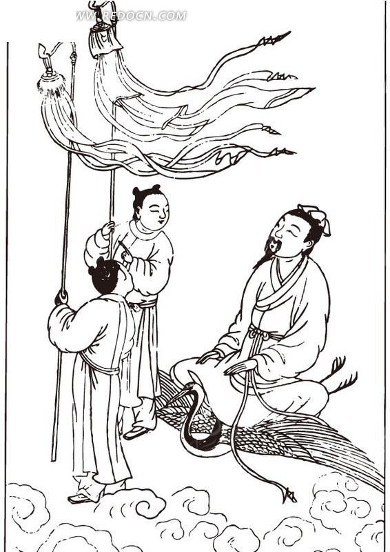 古代人物白描图-骑着仙鹤的男子和童子