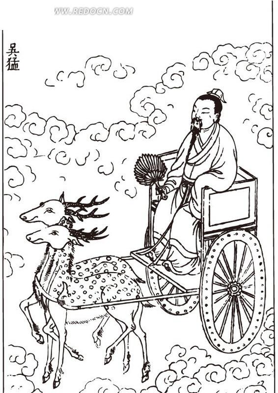古代人物白描图-坐着鹿拉的车的男子