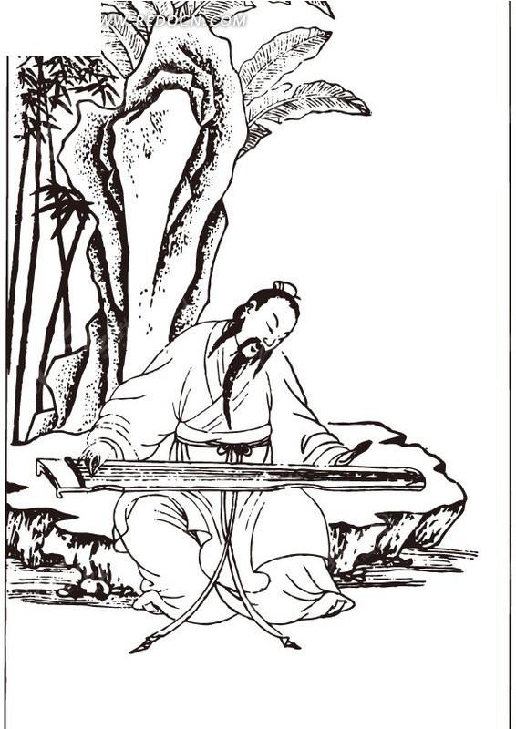 古代人物白描图——抚琴者