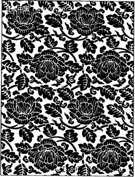 免费素材 矢量素材 花纹边框 花纹花边 中国古典图案-牡丹和叶子构成