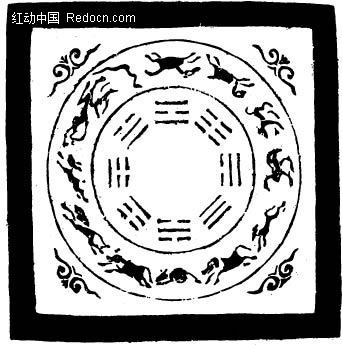 中国古典图案-卷曲纹和动物构成的圆形图案