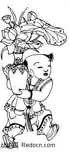 手托荷花瓶的男童黑白画图片
