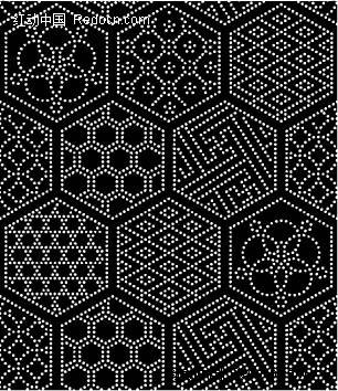 六边形里的不同形状构成的图案图片