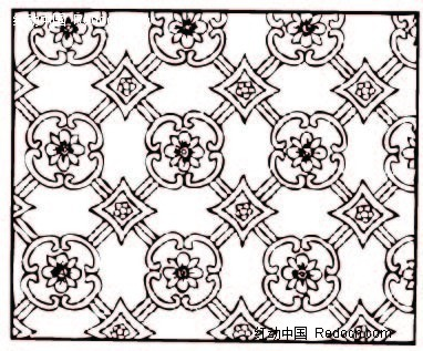 免费素材 矢量素材 花纹边框 花纹花边 中国古典图案-花朵形和菱形