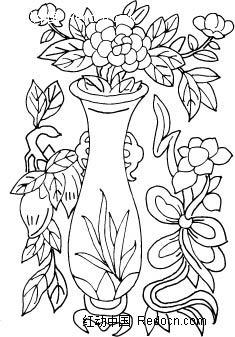 黑色线条画花瓶装饰纹ai矢量文件图片