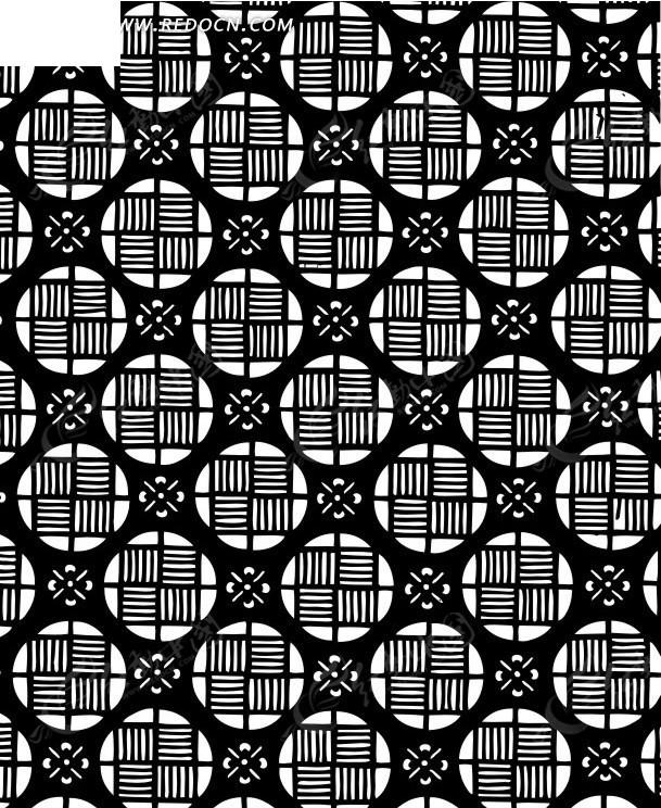 中国古典图案-圆形和方形构成连续纹样图片