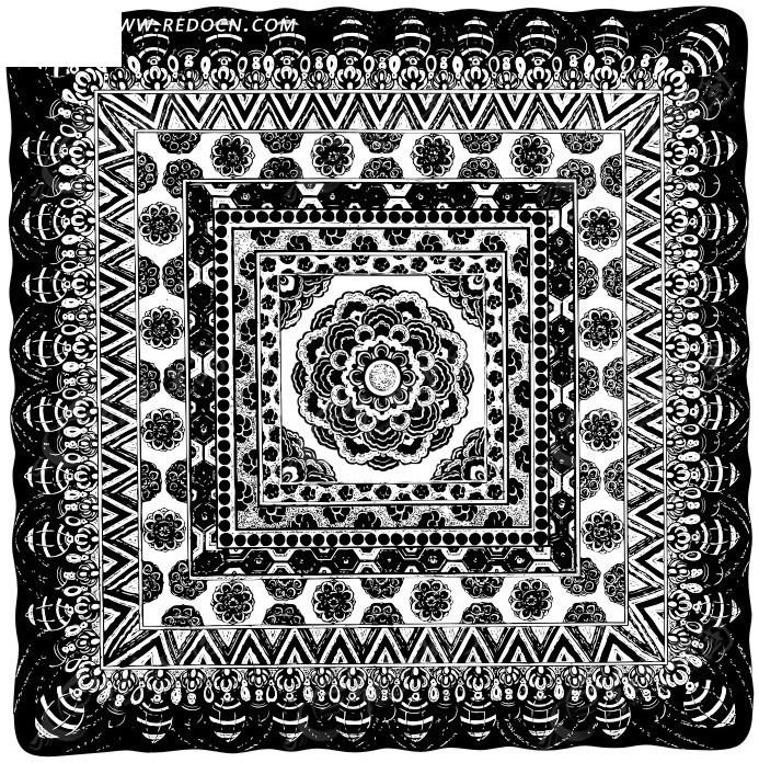 中国古典图案-花朵和圆形构成的方形图案图片
