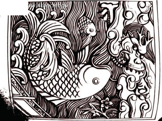 木雕鲤鱼跃龙门ai免费下载_花纹花边素材图片