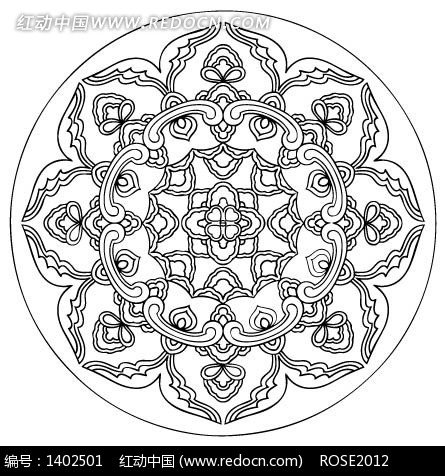 精美华丽的古典圆形花纹AI素材免费下载 编号1402501 红动网