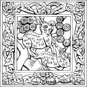 中国古典图案-动物和花朵叶子构成的方形图案