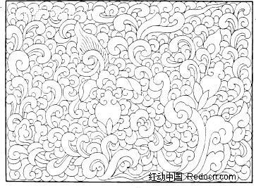 中国古典图案-卷曲纹构成的方形图案图片
