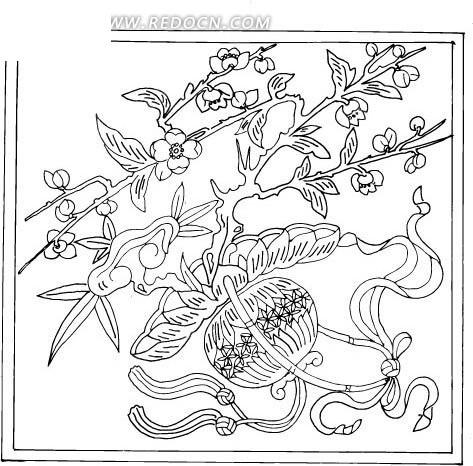 免费素材 矢量素材 花纹边框 花纹花边 > 中国古典图案-篮子里的花朵