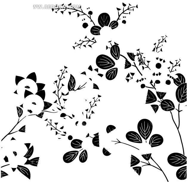 花朵和叶子以及杂点构成的图案图片