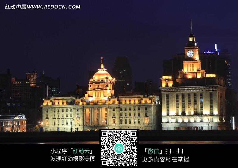 上海外滩海关大楼夜景