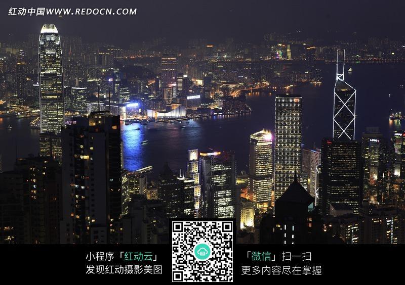 香港维多利亚港夜景俯视图图片