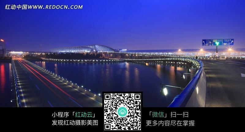 上海浦东机场夜景全景图