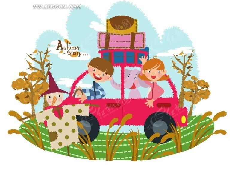 一个小男孩一个小女孩和大笨象 在野外抓蜻蜓_卡通_红