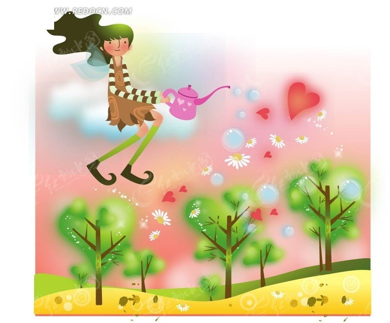 长发 手绘 小女孩 云朵 树苗 浇水 爱心  卡通人物 卡通人物图片 漫画