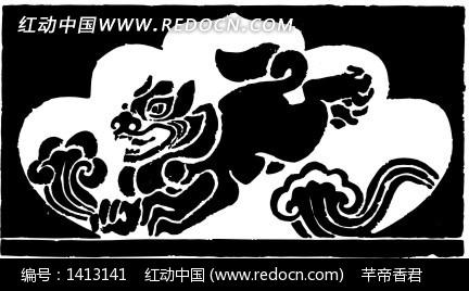 中国古典图案-动物和云纹构成的图案
