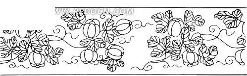 中国古典图案-藤蔓上的果子和叶子