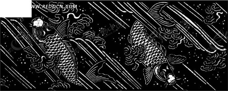 中国古典图案-鱼和斜线构成斑驳的图案