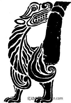 手绘黑色线条状龙形图案