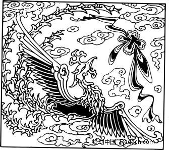 免费素材 矢量素材 花纹边框 花纹花边 手绘展翅飞翔火凤凰  请您分享