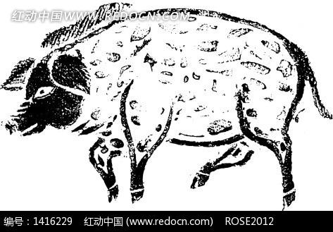 手绘花猪图案