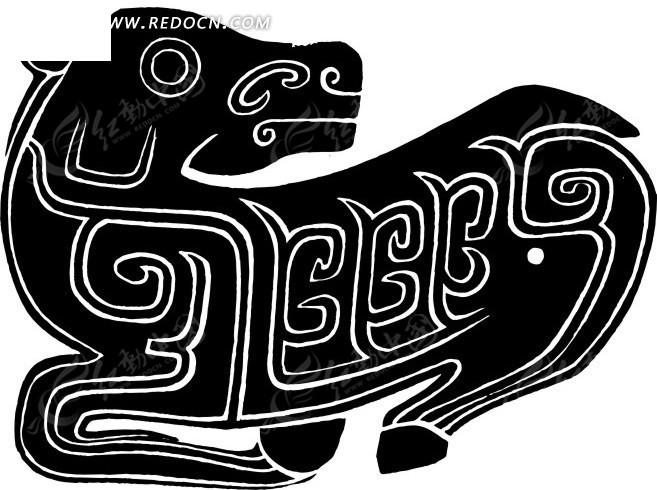 中国古典图案-回纹装饰的回头看的趴着的动物