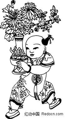 年画线描图—捧着花瓶的童子