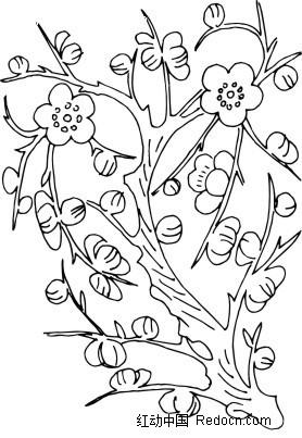梅花树简笔画 手绘