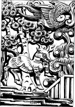 中国古典图案-长角的动物和飞鸟构成的图案