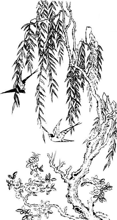 黑白年画 梅花柳树和双燕矢量图 书画文字图片