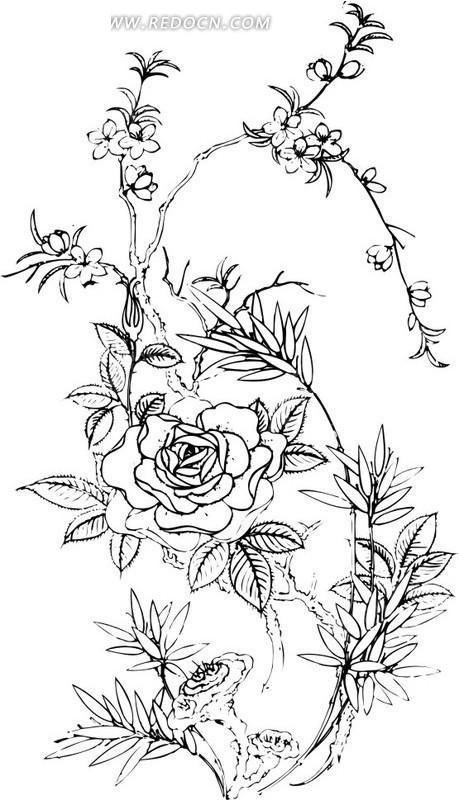 中国古典黑白年画-梅花牡丹矢量图