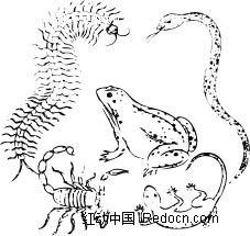 皇蛇兽_中国古典黑白年画-五毒图