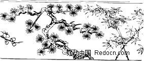 中国古典黑白年画-竹子松树和梅花矢量图