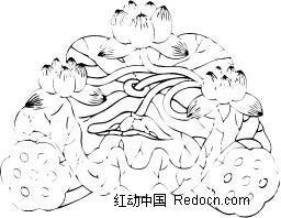 中国古典黑白年画-三朵莲花和两个莲蓬