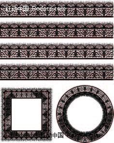 半圆形和不规则形构成的花边边框矢量图