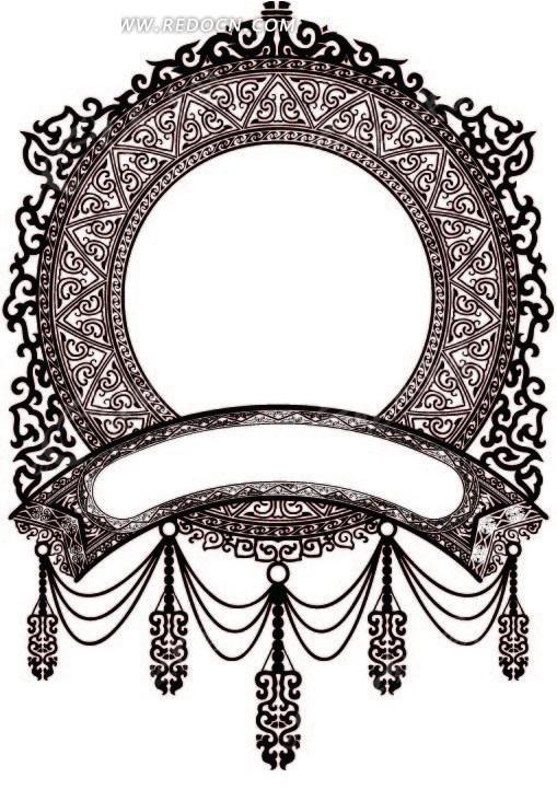 素材下载 矢量素材 花纹边框 花纹花边 > 卷曲纹和几何形构成的精美