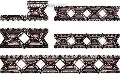 卷曲纹和线条构成的菱形边框