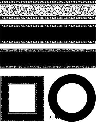 欧式花纹底纹边框花纹图案设计失量图